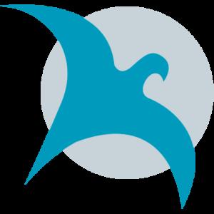 Favicon bestehend aus dem Phönix-Vogel der in die Luft steigt und grauem kreisrunden Hintergrund