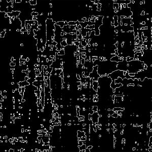schemenhafter Hintergrund bestehend aus schwarzen unkoordinierten Flecken