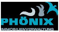 Logo Phönix Immobilienverwaltung, bestehend aus einem Schriftzug und 3 Symbolen die aufsteigend Rauch, Feuer und den Phönix Vogel darstellen sollen