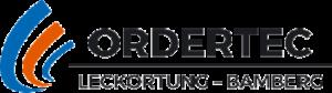 Logo Ordertec, bestehend aus schwarzer Schrift und links 3 rot und orangenen aufsteigenden Schwüngen