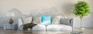 Bautrocknung im Wohnzimmer. Zu sehen ist eine helle Couch mit blauem Kissen, links und rechts der Couch stehen ein Schränkchen mit Lampe darauf und eine hoch gewachsene Grünpflanze, der Boden des Zimmers steht bis zur Hälfte der Couch unter Wasser, an der Wand sind großflächige Wasserflecken zu sehen